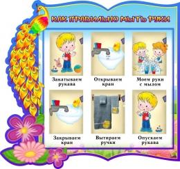 Купить Стенд фигурный Как правильно мыть руки группа Жар-птица  340*310 мм в Беларуси от 12.00 BYN