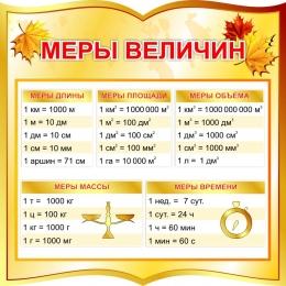 Купить Стенд фигурный Меры величин для начальной школы в золотистых тонах  550*550мм в Беларуси от 34.00 BYN
