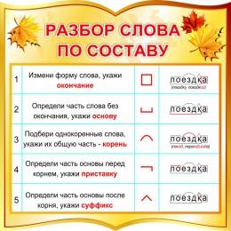 Купить Стенд фигурный Разбор слова по составу для начальной школы в золотистых тонах 550*550 мм в Беларуси от 34.00 BYN