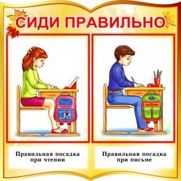 Купить Стенд фигурный Сиди правильно для начальной школы в золотистых тонах 550*550 мм в Беларуси от 34.00 BYN