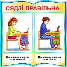 Купить Стенд фигурный Сядзi правiльна на белорусском языке для начальной школы в голубых тонах 550*550мм в Беларуси от 34.00 BYN