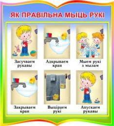 Купить Стенд фигурный Як правiльна мыць рукi для начальной школы и детского сада  270*300мм в Беларуси от 9.00 BYN