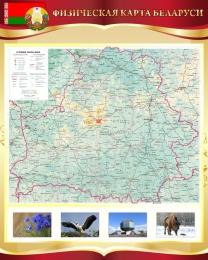 Купить Стенд Физическая карта Беларуси в золотисто-бордовых тонах 600*750 мм в Беларуси от 49.00 BYN