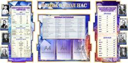 Купить Стенд Фiзiка вакол нас в золотисто-синих тонах с таблицами 1900*955 мм в Беларуси от 212.50 BYN