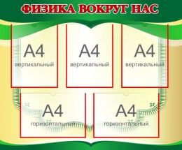 Купить Стенд Физика вокруг нас в золотисто-зелёных тонах 870*720мм в Беларуси от 88.50 BYN