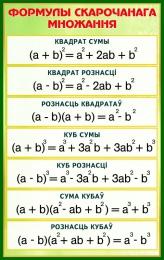 Купить Стенд Формулы скарочанага множання в золотисто-зелёных тонах на белорусском языке   530*840 мм в Беларуси от 49.00 BYN