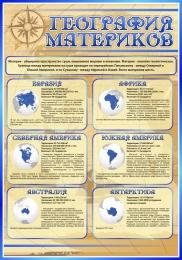 Купить Стенд География материков в кабинет Географии в золотисто-синих тонах 700*1000 мм в Беларуси от 76.00 BYN