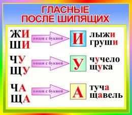 Купить Стенд Гласные после шипящих для начальной школы в стиле Радуга 400*350мм в Беларуси от 15.00 BYN