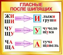 Купить Стенд Гласные после шипящих для начальной школы в золотистых тонах 400*350мм в Беларуси от 15.00 BYN