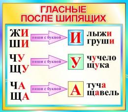 Купить Стенд Гласные после шипящих  в бирюзовых тонах 400*350мм в Беларуси от 15.00 BYN