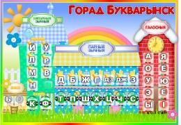 Купить Стенд Горад Букварынск на белорусском языке в стиле радуга знаний 850*600 мм в Беларуси от 56.00 BYN