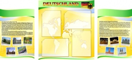 Купить Стенд  Информационный в кабинет немецкого языка желто-зеленый 1500*700мм в Беларуси от 110.00 BYN