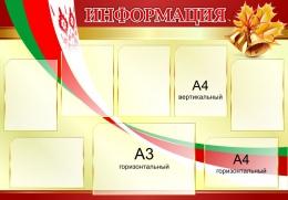 Купить Стенд Информация  золотисто-бордовый с символикой 1200*850мм в Беларуси от 139.50 BYN