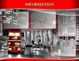Купить Стенд  INFORMATION для кабинета английского языка в красно-серых тонах в стиле Лондон. 970*750 мм в Беларуси от 89.00 BYN