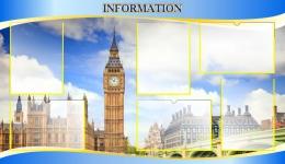 Купить Стенд Information в голубых тонах для кабинета английского языка 1200*700 мм в Беларуси от 112.00 BYN