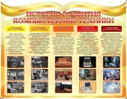 Купить Стенд История развития компьютерной техники в золотисто-оранжевых тонах 1100*850мм в Беларуси от 107.00 BYN