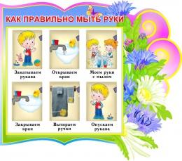 Купить Стенд как правильно мыть руки группа Васильки 380*340 мм в Беларуси от 15.00 BYN