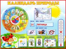 Купить Стенд Календарь Природы, развивающий в группу Божья коровка 800*600 мм в Беларуси от 71.50 BYN