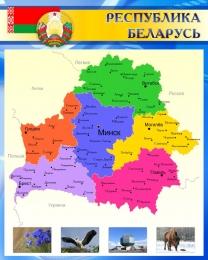 Купить Стенд Карта Беларуси на русском языке в голубых тонах 600*750 мм в Беларуси от 49.00 BYN