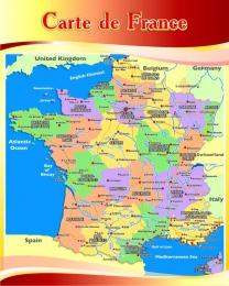 Купить Стенд Карта Франции для кабинета французского языка в бордово-золотистых тонах 600*750 мм в Беларуси от 49.00 BYN
