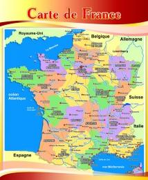 Купить Стенд Карта Франции для кабинета французского языка в бордово-золотистых тонах 700*850 мм в Беларуси от 65.00 BYN