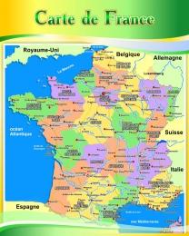 Купить Стенд Карта Франции для кабинета французского языка в золотисто-зелёных тонах 600*750 мм в Беларуси от 52.00 BYN
