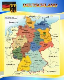Купить Стенд Карта Германии в голубых тонах 600*750мм в Беларуси от 52.00 BYN