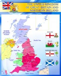 Купить Стенд Карта Великобритании для кабинета английского синий 700*850 мм в Беларуси от 65.00 BYN