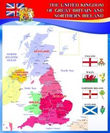 Купить Стенд Карта Великобритании для кабинета английского в красно -синих тонах 700*850 мм в Беларуси от 68.00 BYN