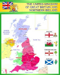 Купить Стенд Карта Великобритании для кабинета английского в зелёных тонах 600*750 мм в Беларуси от 49.00 BYN