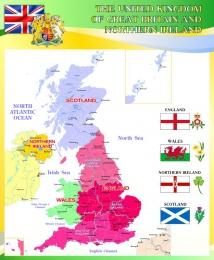 Купить Стенд Карта Великобритании для кабинета английского в золотисто-зеленых тонах 700*850 мм в Беларуси от 68.00 BYN