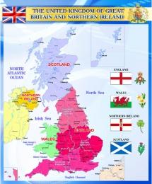 Купить Стенд Карта Великобритании для кабинета английского языка синий 600*750мм в Беларуси от 52.00 BYN
