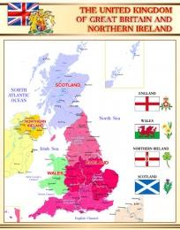 Купить Стенд Карта Великобритании для кабинета английского языка в бежево-золотистых тонах 670*850 мм в Беларуси от 65.00 BYN