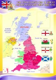 Купить Стенд Карта Великобритании для кабинета английского языка в фиолетовых тонах 750*530 мм в Беларуси от 43.00 BYN