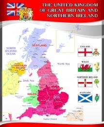 Купить Стенд  Карта Великобритании для кабинета английского языка в красно-серых тонах в стиле Лондон.700*850 мм в Беларуси от 68.00 BYN