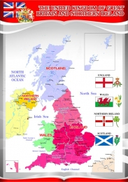 Купить Стенд Карта Великобритании для кабинета английского языка в серо-красных тонах 530*750 мм в Беларуси от 43.00 BYN