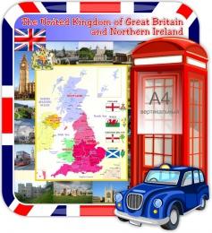 Купить Стенд Карта Великобритании для кабинета английского языка в стиле Лондон 1000*1100 мм в Беларуси от 125.00 BYN