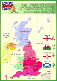 Купить Стенд Карта Великобритании для кабинета английского языка в зеленых тонах 700*1000мм в Беларуси от 76.00 BYN