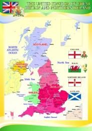 Купить Стенд Карта Великобритании для кабинета английского языка в желто-зеленых тонах 530*750 мм в Беларуси от 43.00 BYN