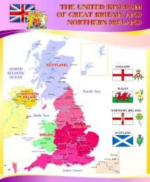 Купить Стенд  Карта Великобритании для кабинета английского языка в золотисто-сиреневых тонах 700*850 мм в Беларуси от 65.00 BYN