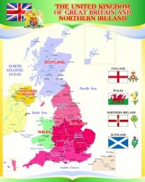 Купить Стенд  Карта Великобритании для кабинета английского языка в золотисто-зелёных тонах 600*750мм в Беларуси от 52.00 BYN