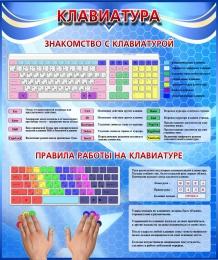 Купить Стенд Клавиатура в кабинет информатики в голубых тонах 530*630 мм в Беларуси от 36.00 BYN
