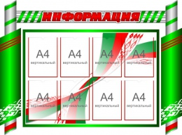 Купить Стенд-композиция Информация в зелёных тонах 1400*1040мм в Беларуси от 161.00 BYN