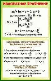 Купить Стенд Квадратнае ўраўненне в золотисто-зелёных тонах на белорусском языке  530*840 мм в Беларуси от 51.00 BYN