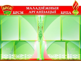 Купить Стенд Маладзёжныя арганiзацыi БРСМ и БРПА  1030*700мм в Беларуси от 109.10 BYN