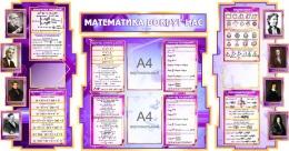 Купить Стенд  Математика вокруг нас с формулами в кабинет Математики в сиреневых тонах с карманами А4 1800*995мм в Беларуси от 219.80 BYN