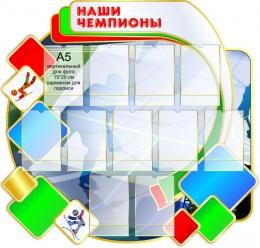 Купить Стенд Наши чемпионы в бело-зелёно-красных  с голубым тонах 1030*1080мм в Беларуси от 149.00 BYN