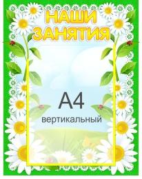 Купить Стенд Наши занятия для группы Ромашка с карманом А4 360*450 мм в Беларуси от 20.50 BYN