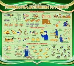 Купить Стенд Обработка древесины вручную на белорусском языке в зеленых тонах 950*840 мм в Беларуси от 87.00 BYN