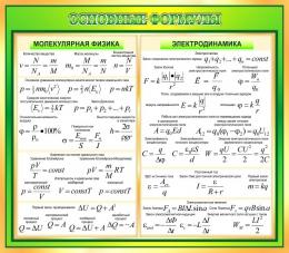 Купить Стенд Основные формулы молекулярной физики, электродинамики в золотисто-зелёных тонах 800*700 мм в Беларуси от 64.00 BYN